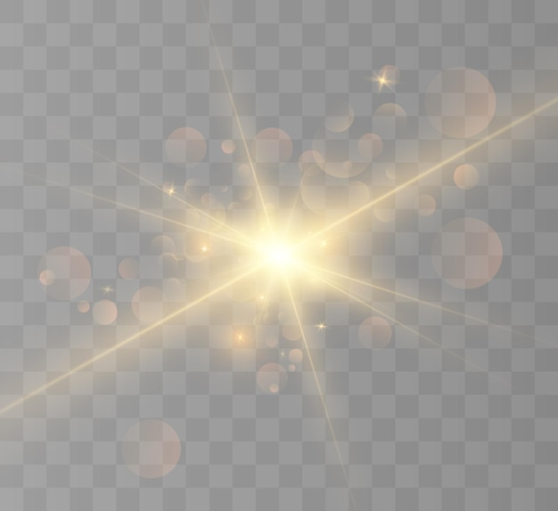 Yellow glowing light burst explosion with transparent vector illustration for cool effect decoratio