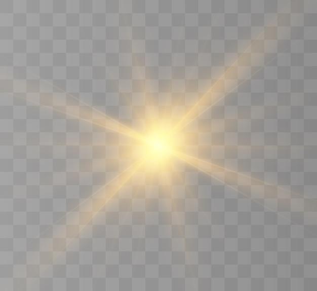 透明な黄色の光る光バースト爆発。