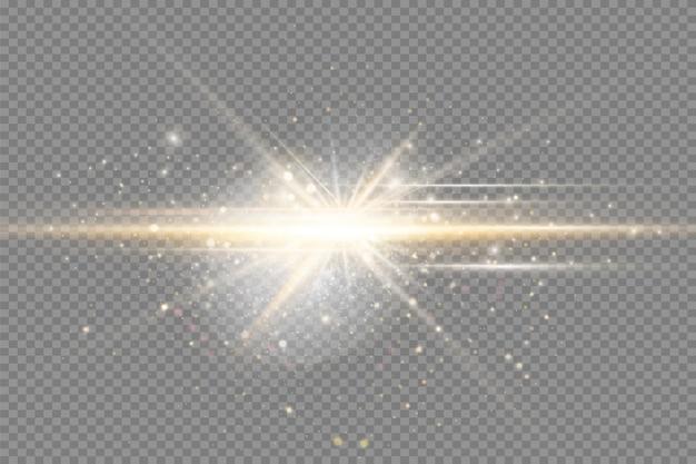노란색 빛나는 빛은 투명한 배경 반짝이는 마법의 먼지 입자 밝은 성에서 폭발합니다...
