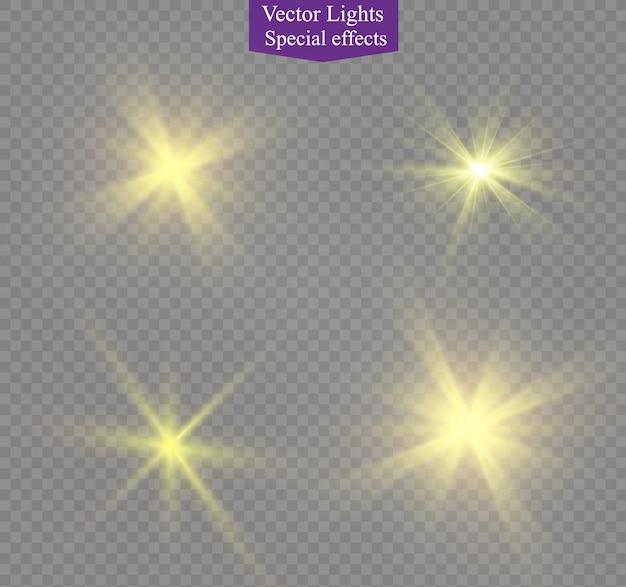 透明な背景に黄色の輝く光が爆発します。きらめく魔法のちり粒子。輝く星。透明な太陽、明るいフラッシュ。きらめき。明るいフラッシュを中央に配置します。