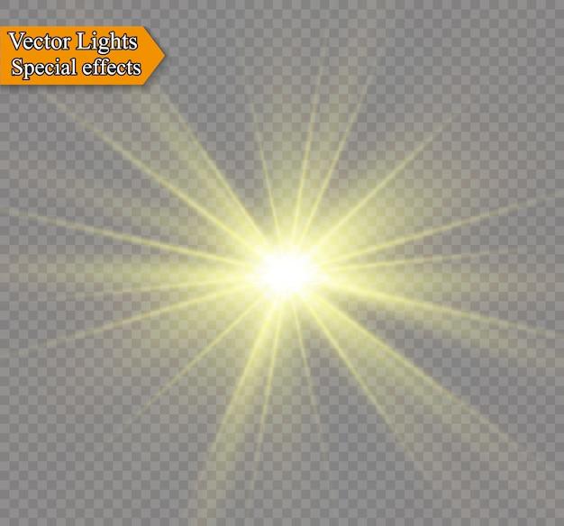 透明な背景に黄色の輝く光が爆発します。きらめく魔法のちり粒子。輝く星。透明な太陽、明るいフラッシュ。きらめき。