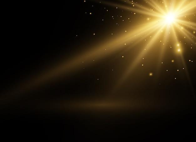 Желтый светящийся свет взрывается на прозрачном фоне. сверкающие магические частицы пыли. яркая звезда. прозрачное сияющее солнце, яркая вспышка. блестки.