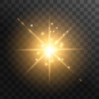 Желтый светящийся свет взрывается на прозрачном фоне. с лучом. прозрачное сияющее солнце, яркая вспышка