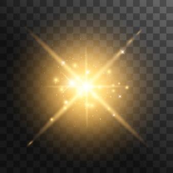 투명한 노란 빛이 폭발합니다. 광선으로. 투명한 빛나는 태양, 밝은 플래시.