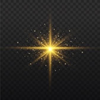 黄色の光が透明に爆発します。輝く星。