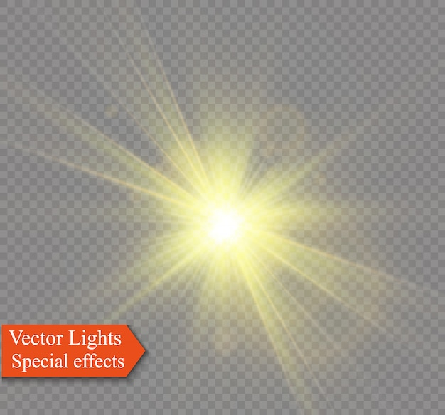 Yellow glowing light explodes on a transparent background