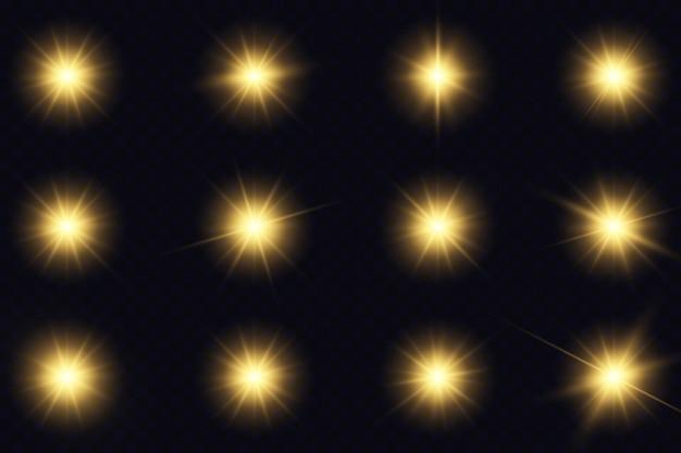 노란 빛나는 조명과 별