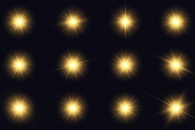 Желтые светящиеся огни и звезды.