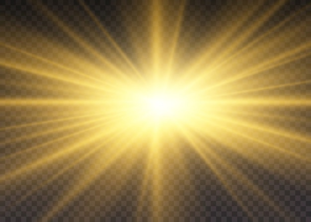 Yellow glowing lights sun rays. a flash of sun with rays and spotlight. the star burst with brilliance. special lights effect isolated on transparent background.
