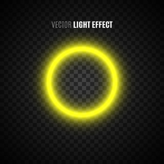 Yellow glowing ring on transparent background. light effect. circle.