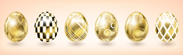 Yellow gold easter egg with geometric decor