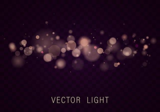 黄色のゴールドライト抽象的な光るボケライト効果は透明な背景に分離されました。お祝いの紫と金色の明るい背景。概念。ぼやけたライトフレーム。