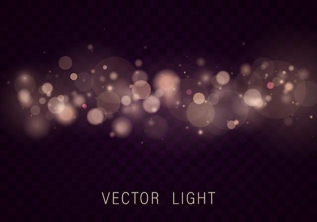 黄色のゴールドライト抽象的な光るボケライト効果は透明な背景に分離されました。お祝いの紫と金色の明るい背景。