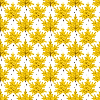 노란색 황금 단풍 원활한 패턴입니다. 흰색 바탕에 낙된 엽과 함께 패턴입니다. 벡터 일러스트 레이 션