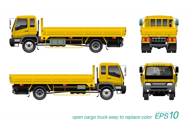 Yellow gondola truck