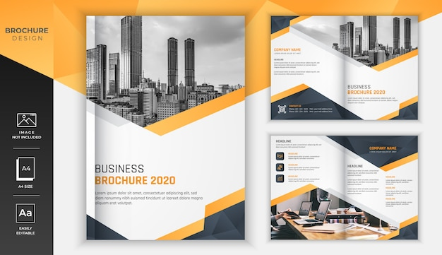 Yellow gradient modern business brochure with black diamond cutting design