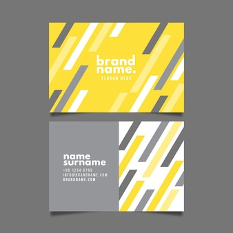 Yellow and gray abstract business card template