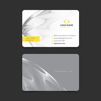 Yellow and gray abstract business card