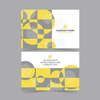 Yellow and gray abstract business cards template