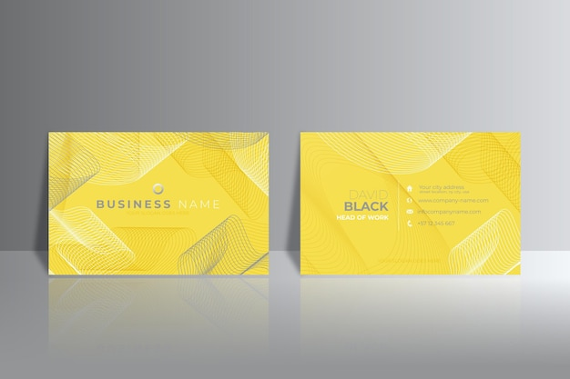 Yellow and gray abstract business cards