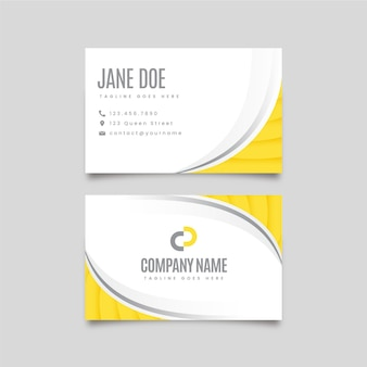 Yellow and gray abstract double-sided business cards