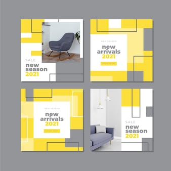 Yellow and gray abstract instagram post collection