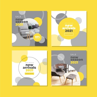 Yellow and gray abstract instagram post pack