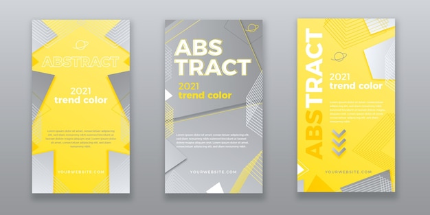 Yellow and gray abstract instagram story collection Free Vector