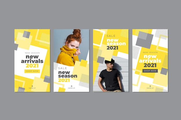Yellow and gray abstract instagram story collection Premium Vector