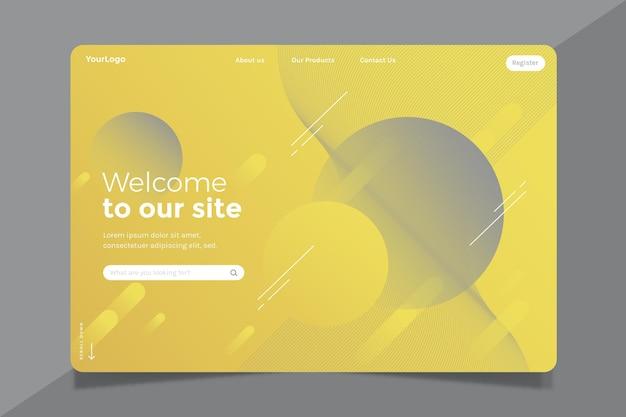 Modello di pagina di destinazione astratto giallo e grigio