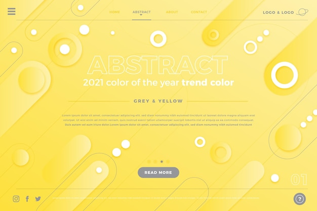 Pagina di destinazione astratta gialla e grigia