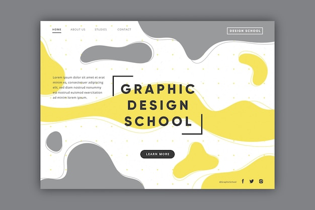Yellow and gray abstract landing page Free Vector