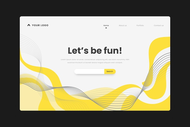 Yellow and gray abstract landing page