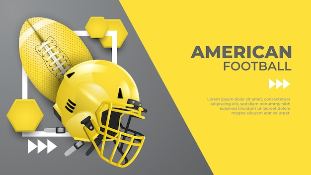 Yellow and gray american football banner template
