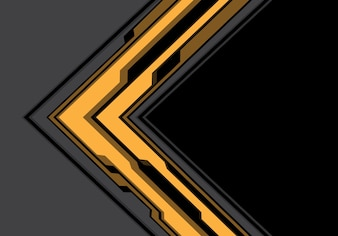 Yellow gray arrow cyber with black technology background.