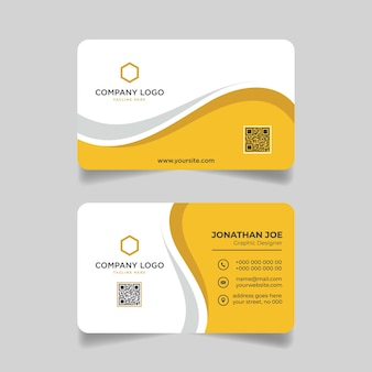 Yellow and gray business card modern template design premium vector