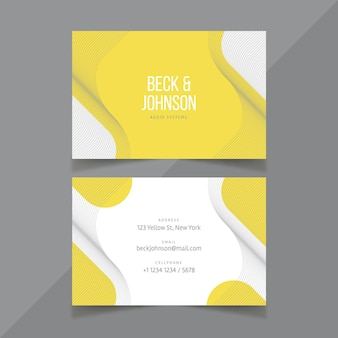 Yellow and gray business card template