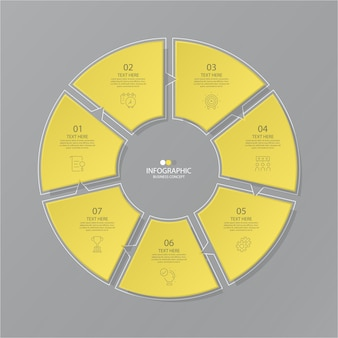 Yellow and gray colors for circle infographic with options
