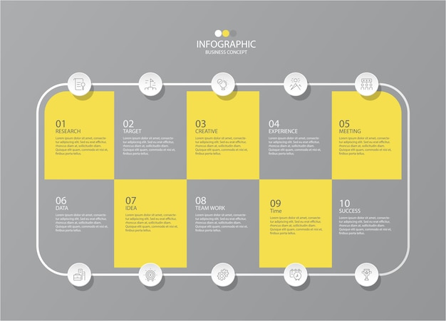 Yellow and gray colors for infographic with thin line icons. 10 options or steps for infographics, flow charts
