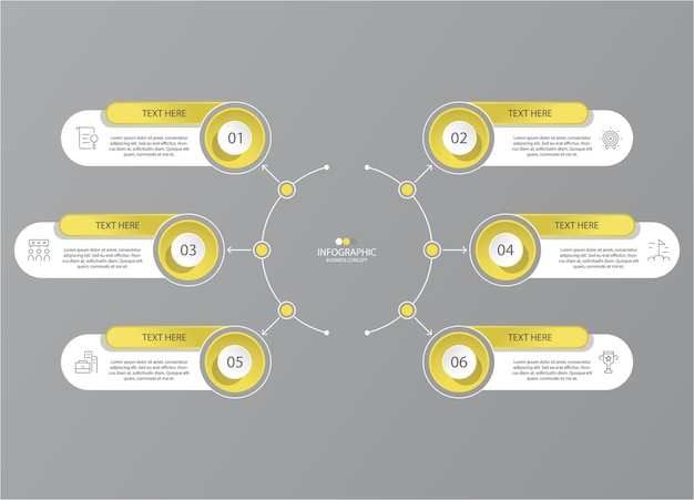 Yellow and gray colors for infographic with thin line icons. 6 options or steps for infographics, flow charts