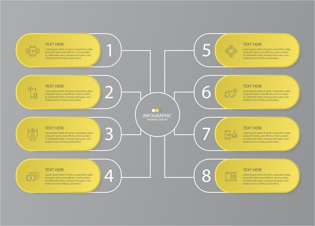 Yellow and gray colors for infographic with thin line