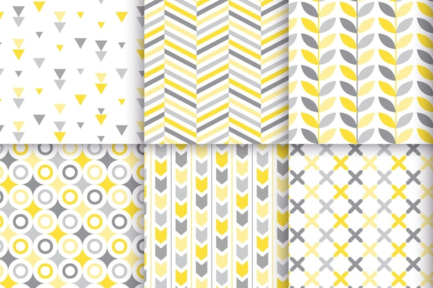 Collezione di motivi geometrici gialli e grigi