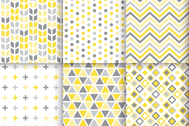 Yellow and gray geometric pattern set