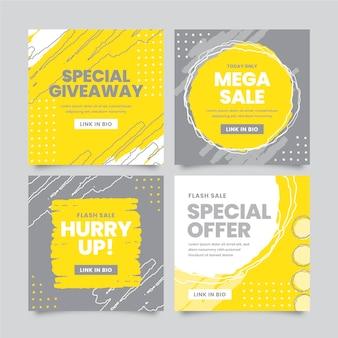 Modello di post instagram giallo e grigio