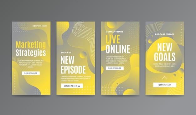 Set di storie instagram giallo e grigio