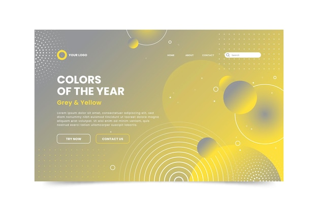 Yellow and gray landing page concept