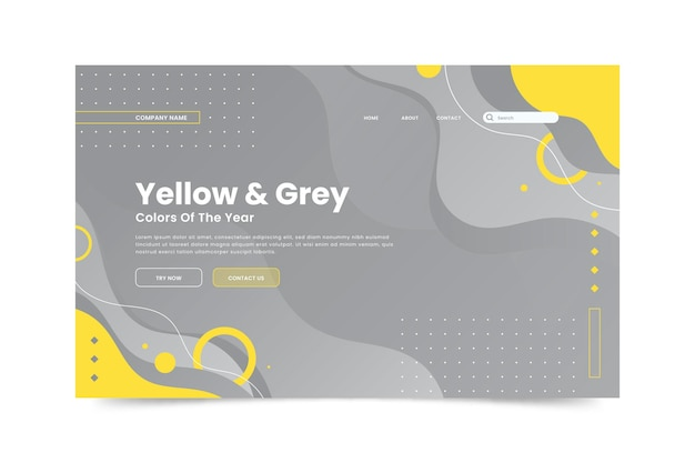 Yellow and gray landing page template
