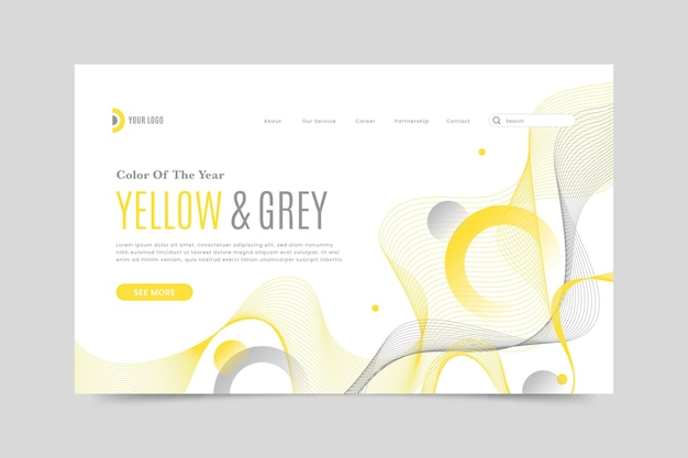 Yellow and gray landing page