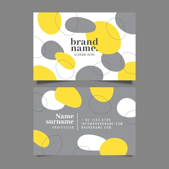 Yellow and gray organic business card template