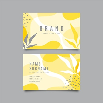 Yellow and gray organic business cards with leaves
